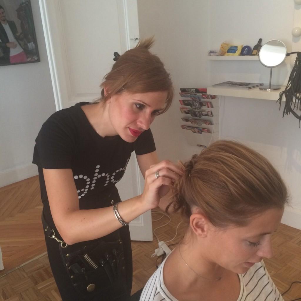 Elisabeth Reyes con look ghd by Patrizia: recogido de trenzas y nudos.