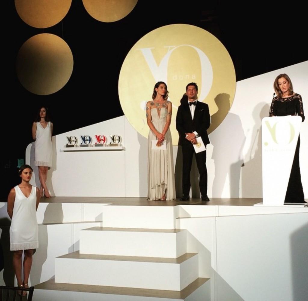 Laure Sánchez y Jaime Cntizano durante el discurso de la directora, Marta Míchel