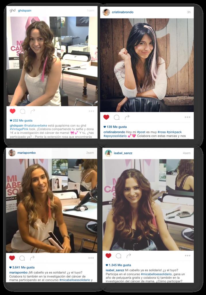 Natalia Verbeke, Cristina Brondo, María Pombo y la youtube Isabel Sanz luciendo look ghd pink
